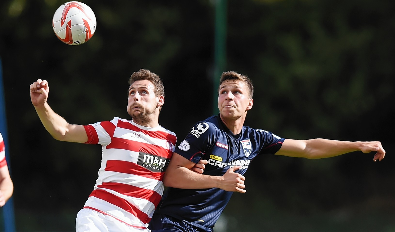Hamilton defender Jesus Garcia Tena and Ross County midfielder Filip Kiss challenge for the ball