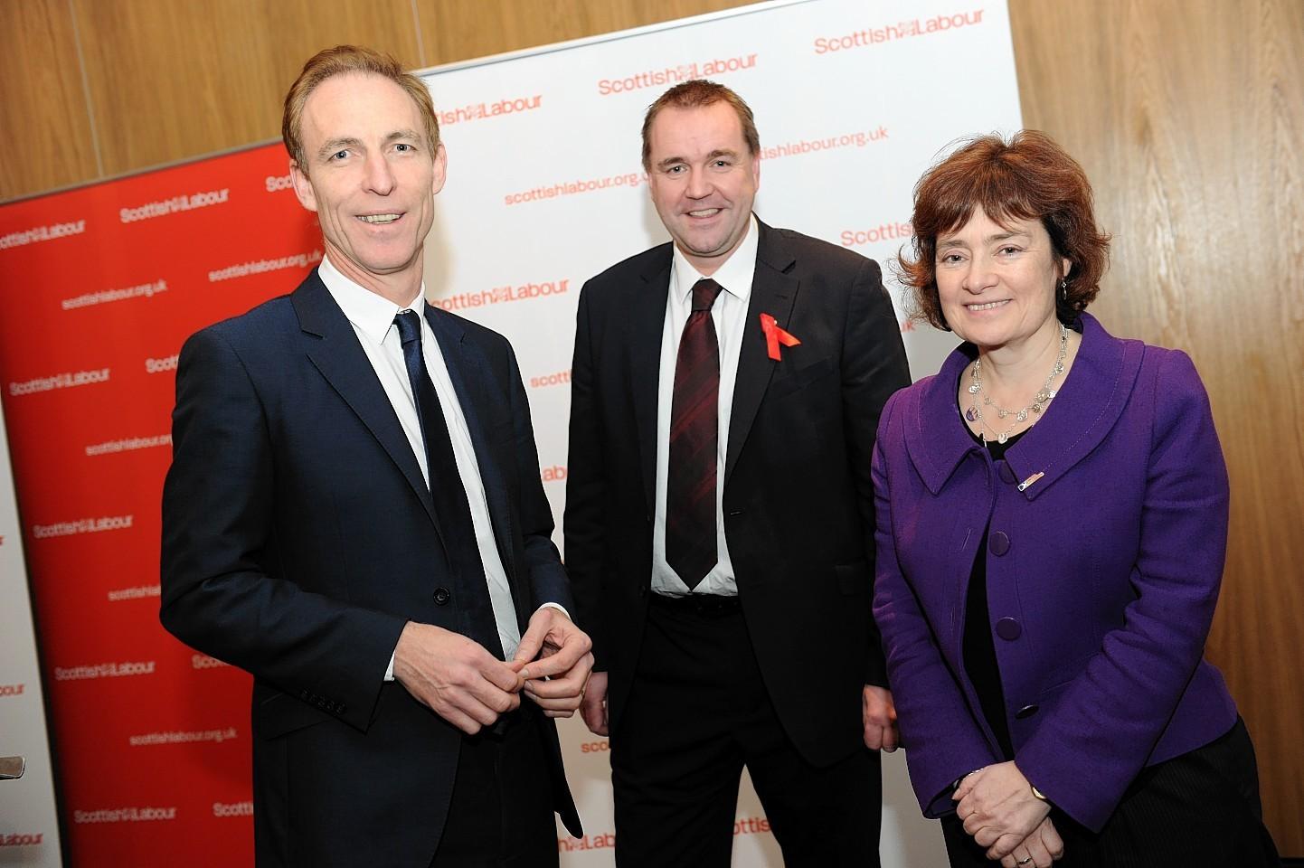 Jim Murphy, Neil Findlay and Sarah Boyack last night.