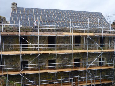 Scaffolding covers the facade of the north range of Mingary Castle