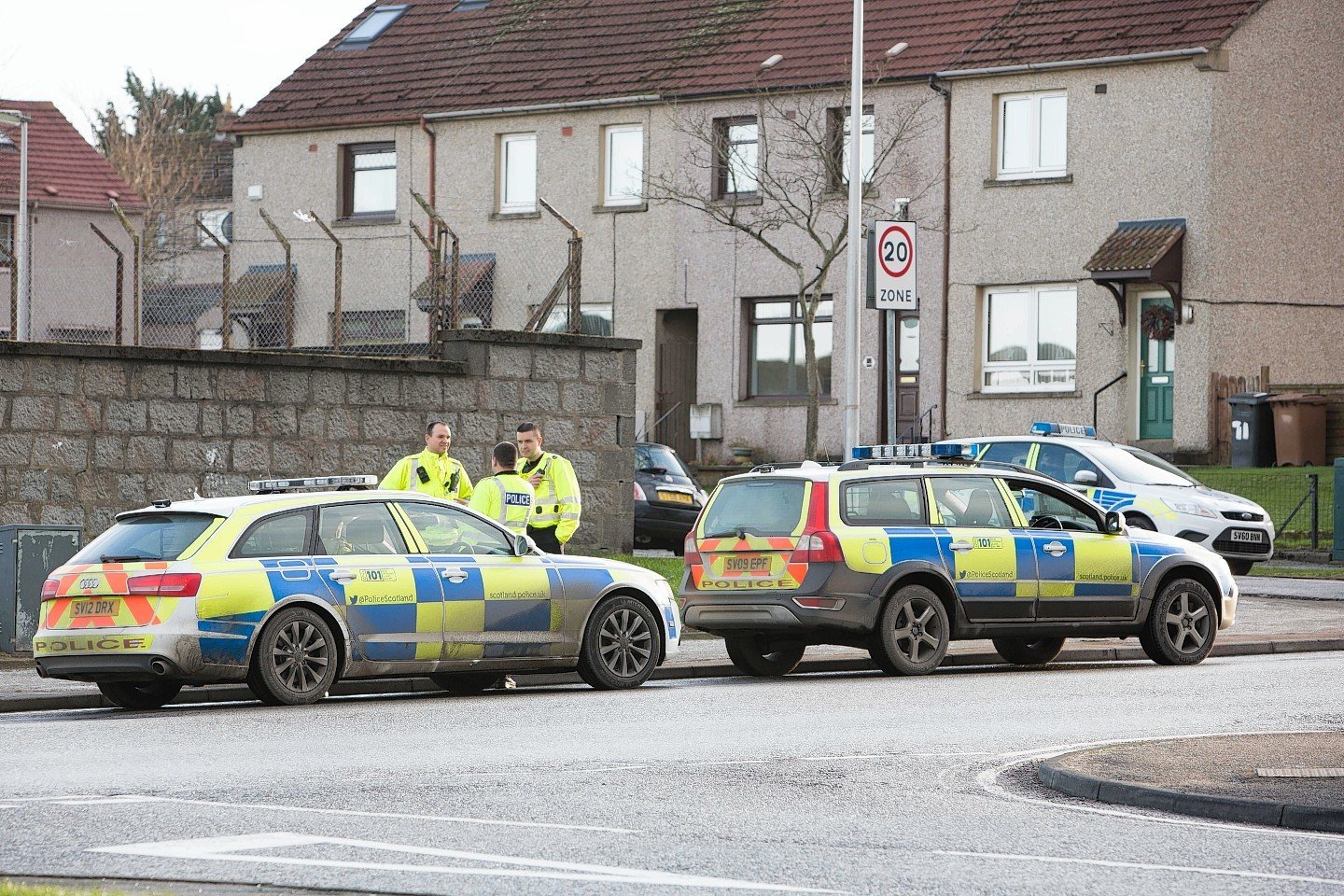 Police cars involved in the chase in Aberdeen