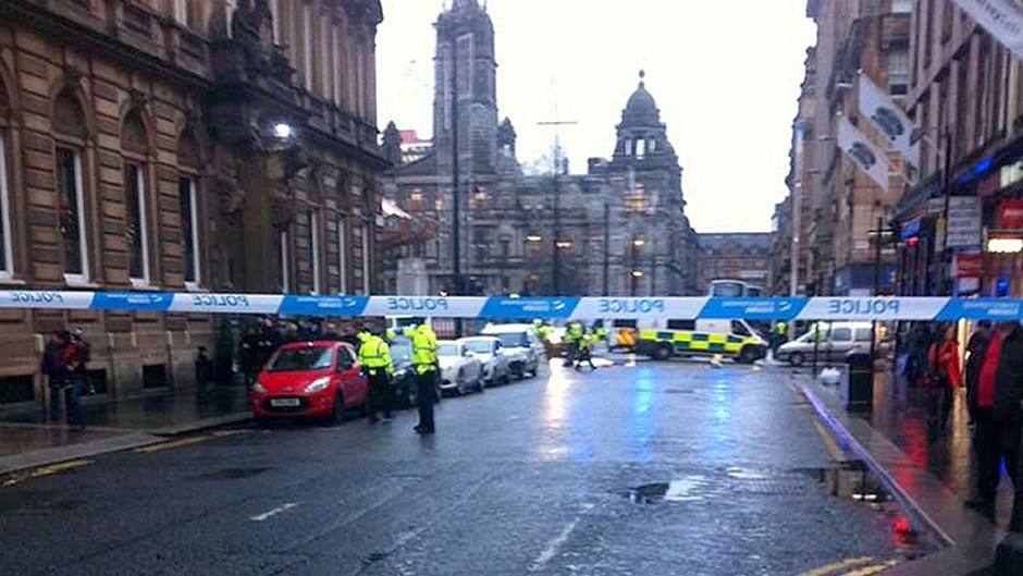 The scene in Glasgow's George Square after an accident involving a bin lorry (@BMol14loy/PA Wire)