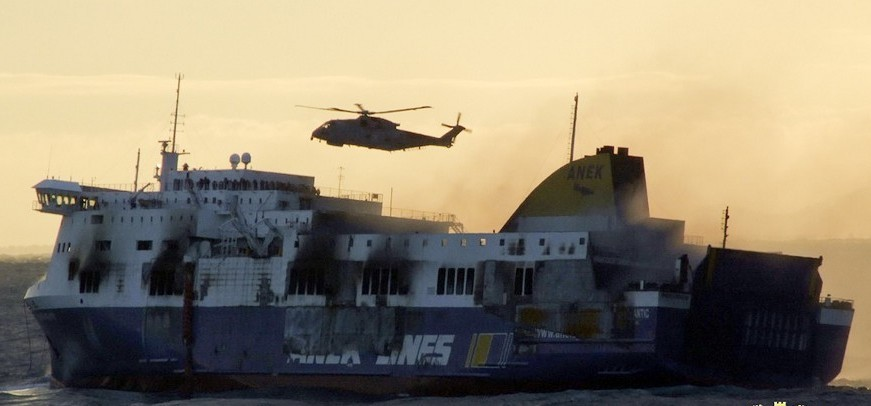 Smoke billows from the Norman Atlantic ferry that caught fire in the Adriatic Sea (Italian Navy/AP)