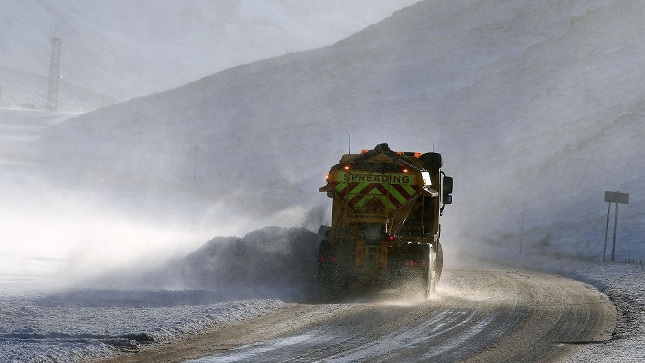 A gritter on the A93 near Glenshee