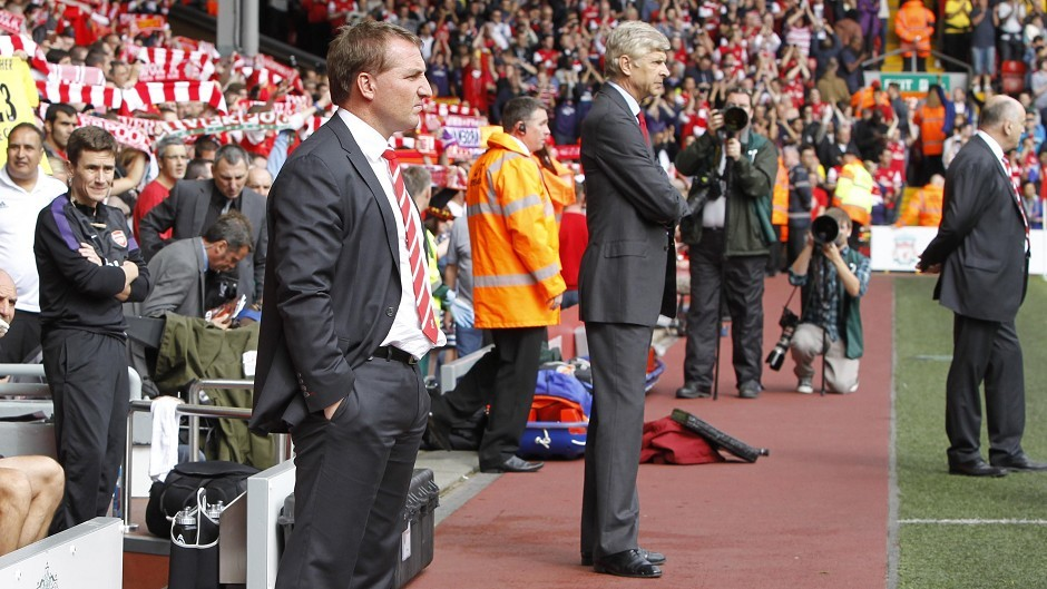 Liverpool manager Brendan Rodgers goes head-to-head with Arsenal manager Arsene Wenger this evening