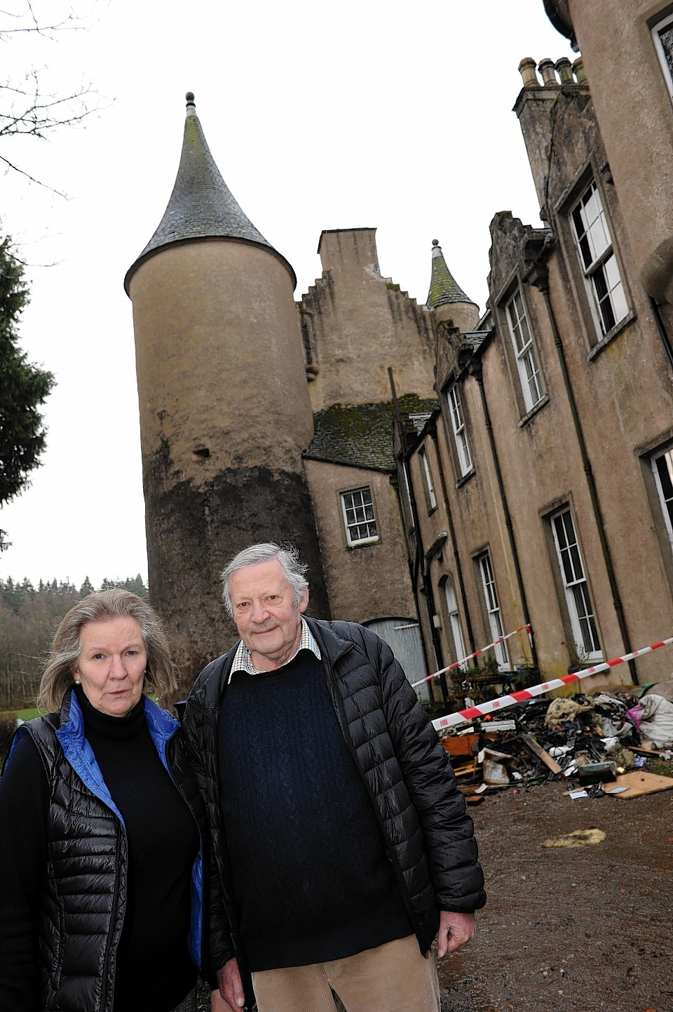 Christopher and Pernille Burges-Lumsden outside Pitcaple Castle