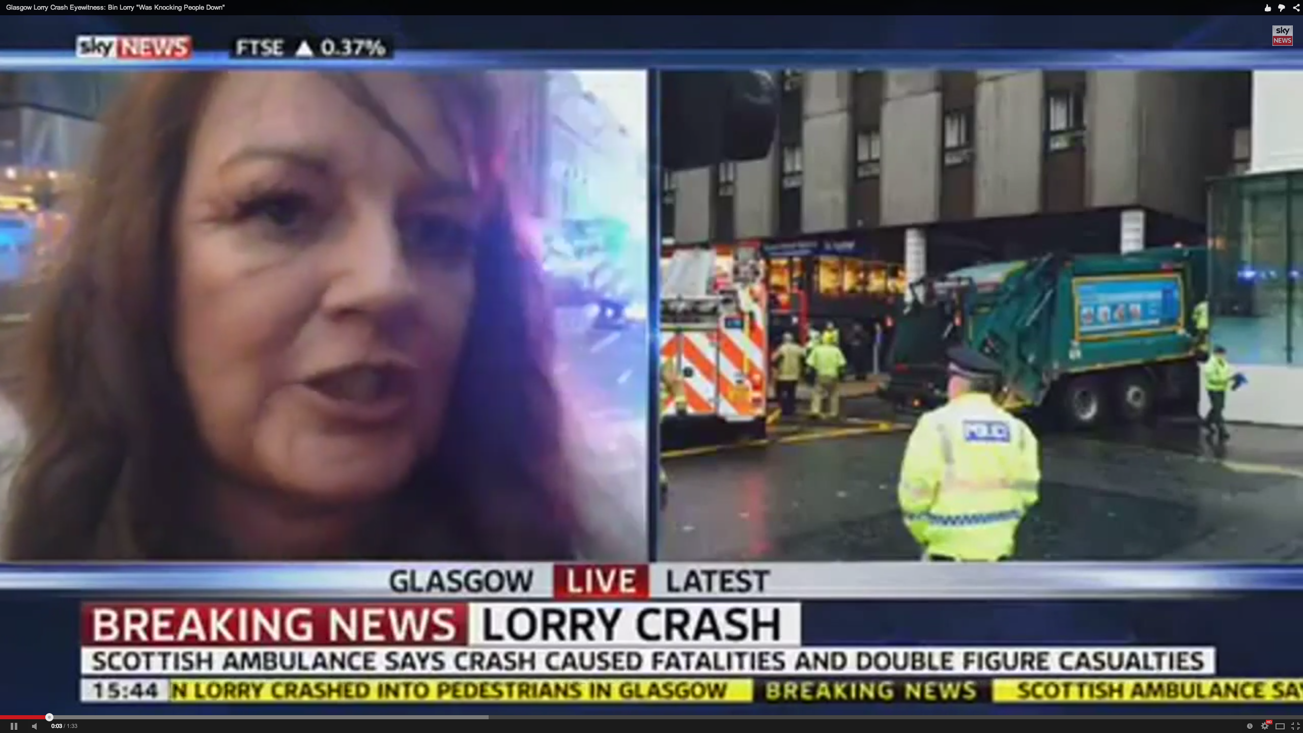 Eyewitness tells Sky News of the moment the lorry crashed