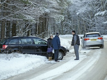 A car left the road at Carrbridge