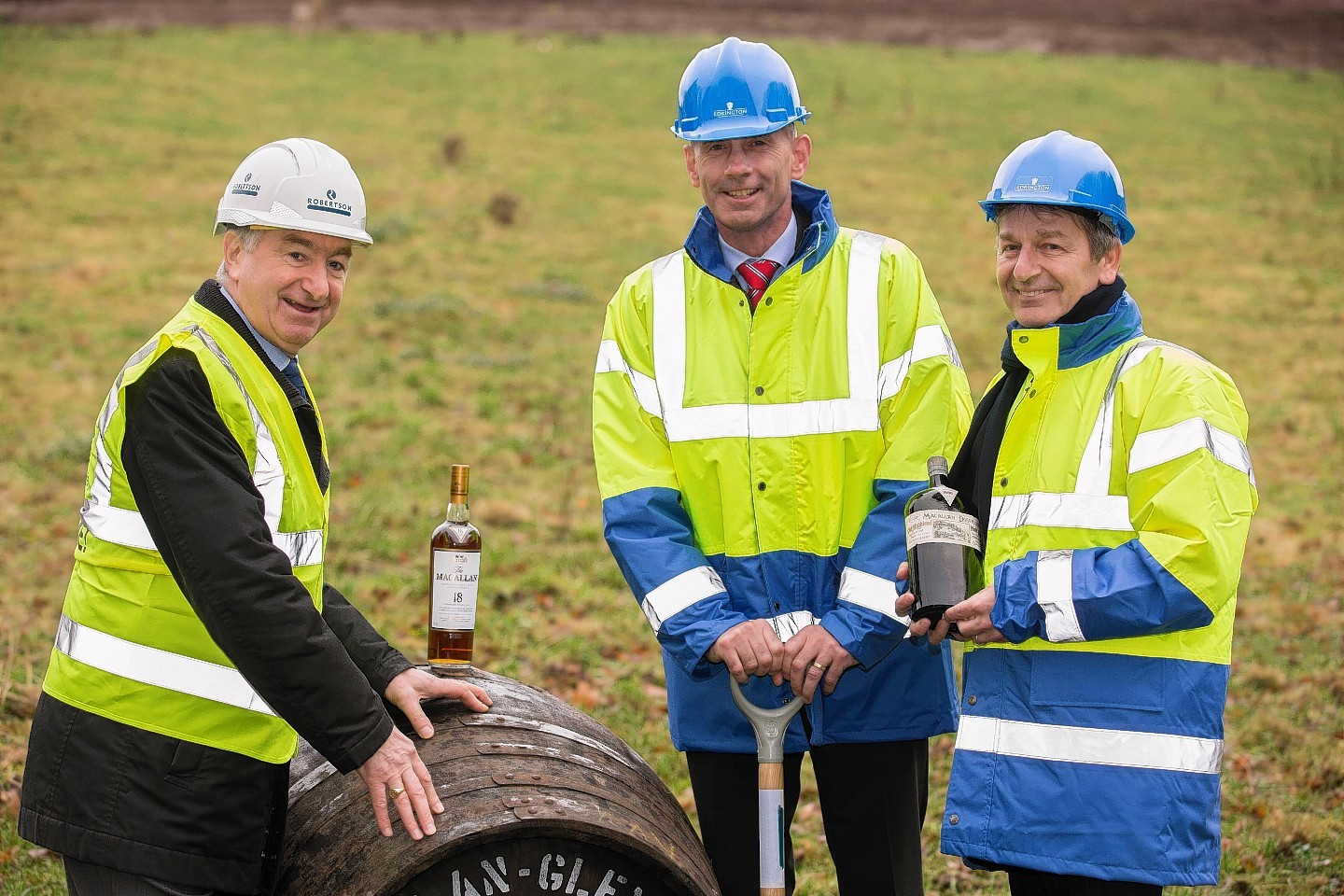 Work starts on the new Macallan distillery. Bill Robertson, Ian Curle and Graham Stirk