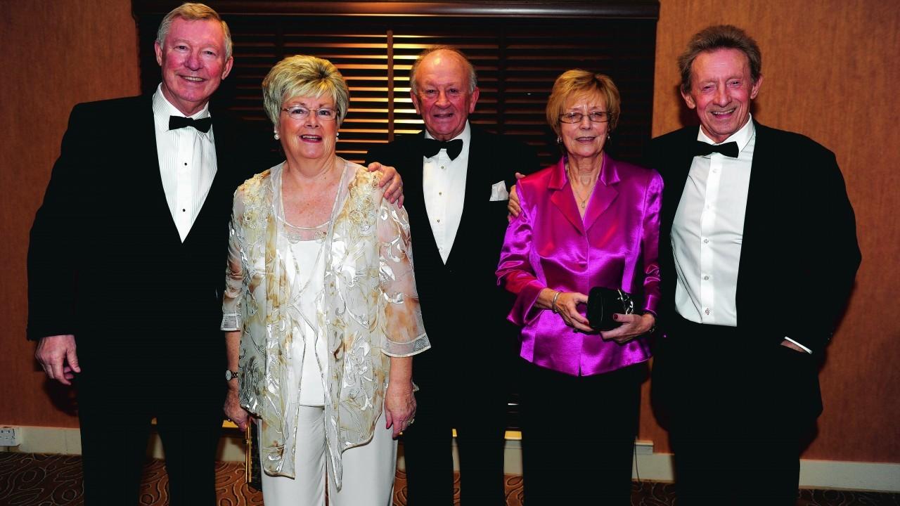 Sir Alex Ferguson, Diane Law, Stewart Spence, Cathy Ferguson and Denis Law.