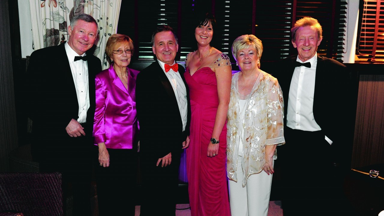 Sir Alex and Cathy Ferguson, George and Alison Yule, Diane and Denis Law.