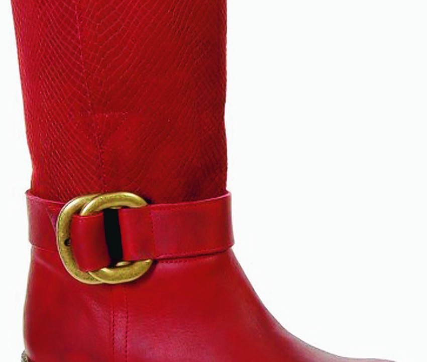 Beautiful Leather Red Berry Fur Lined Boots Available from Catwalkers of Ellon