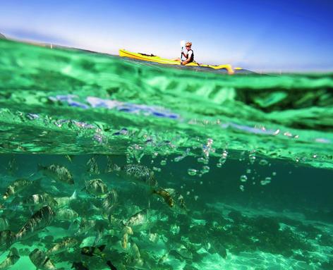Kayaking at Australia's stunning Ningaloo Marine Park