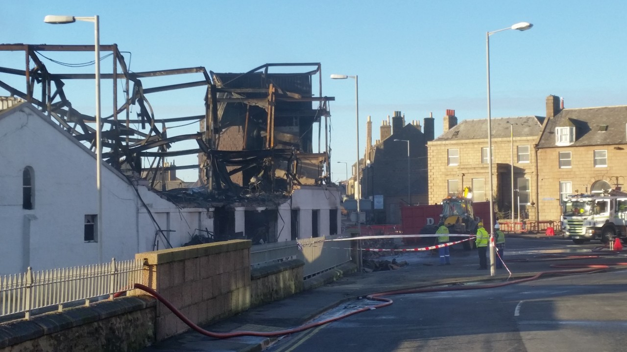 The burnt out shell of the former fish factory in Peterhead
