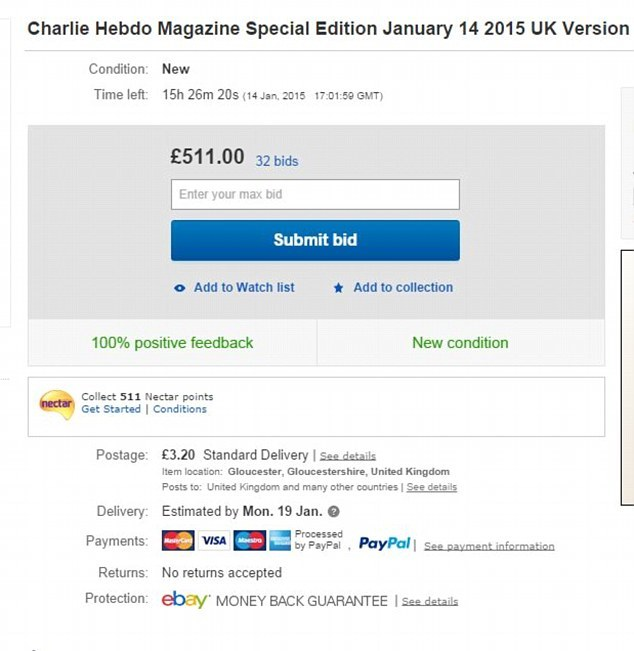 One copy of the special edition is going on eBay for over £500