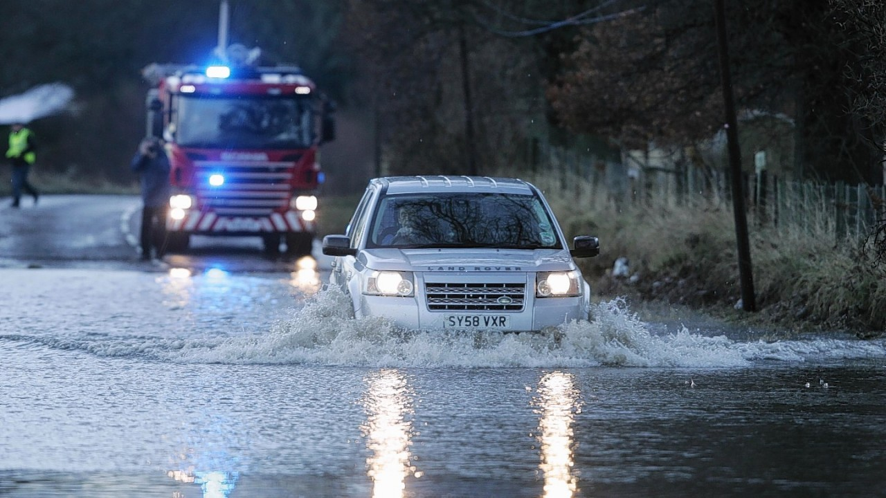 Drivers were met with floods on the A862 Inverness to Beauly Road today