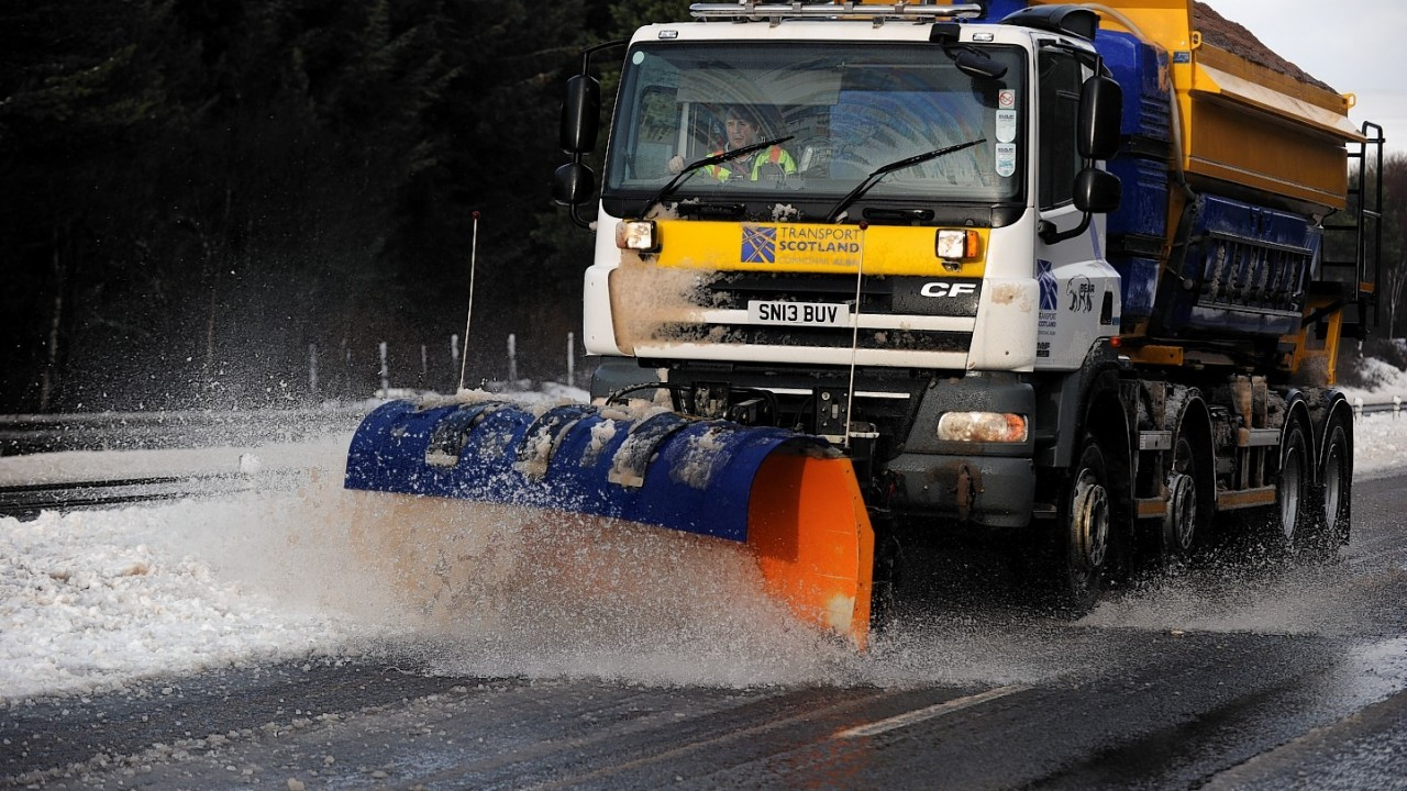 Snow ploughs were employed across the north, including this one on the A9 north of Slochd