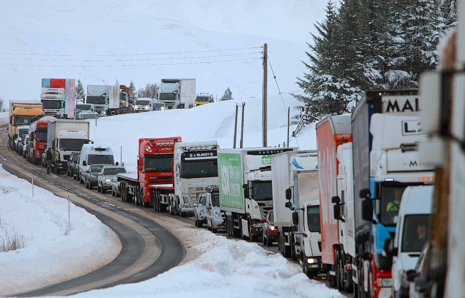 Drivers on the A9 were hit with serious delays due to today's snow