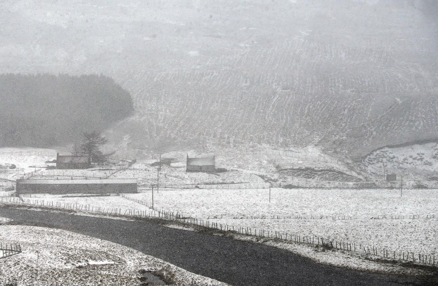 Snow along the A93 at Braemar