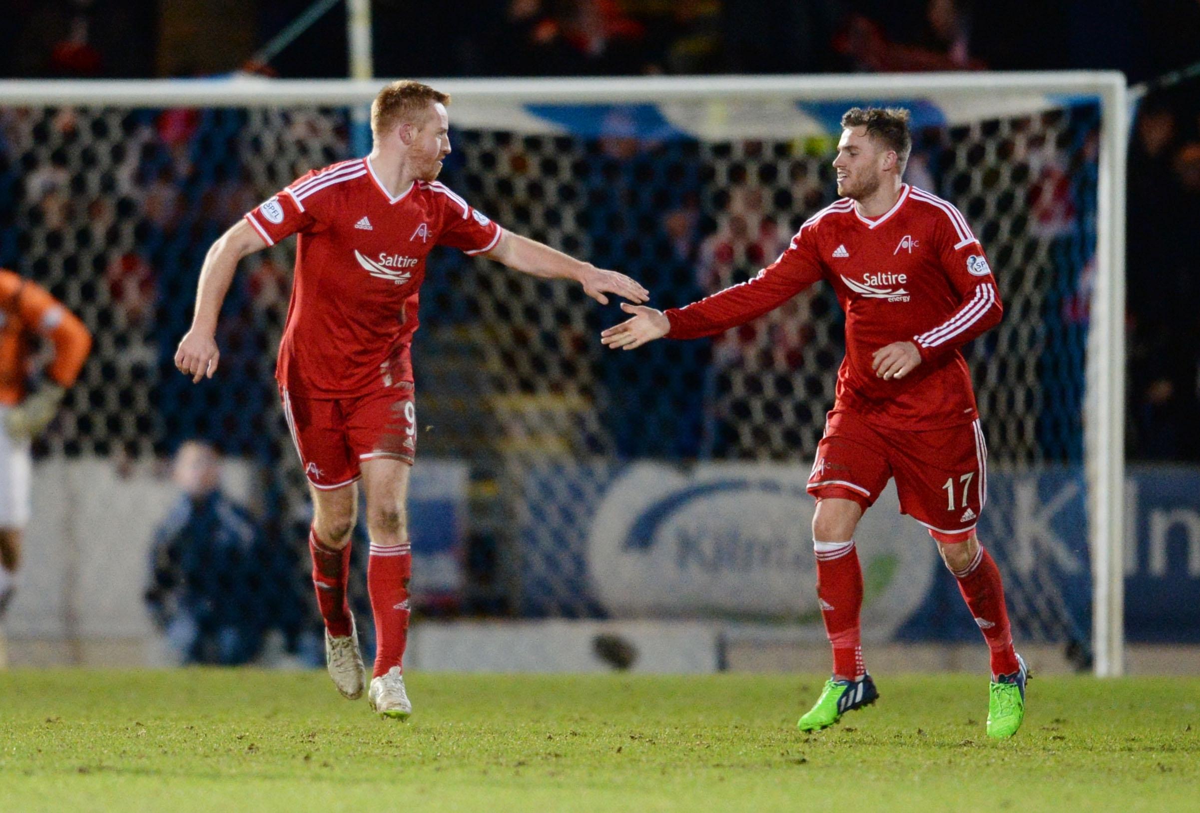 David Goodwillie congratulates Adam Rooney on his goal