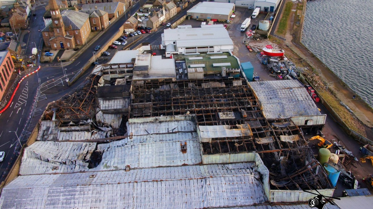 Aerial pictures show devastation caused to Peterhead Fish Factory by fire. Pictures by Best Viewed From Above