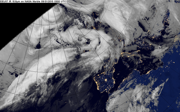 Satellite image shows stormy weather over the UK