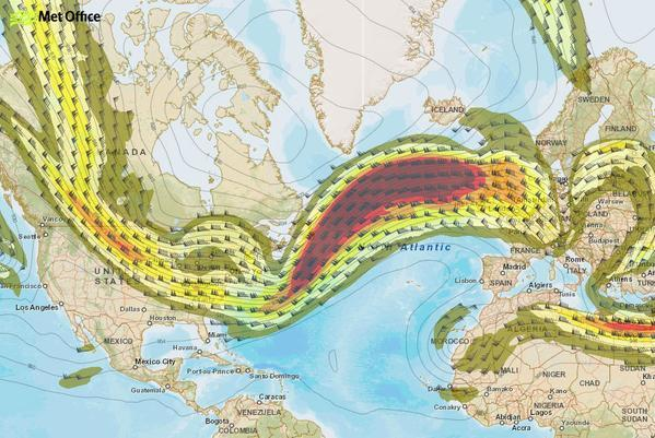 Map shows the jet stream coming across the Atlantic