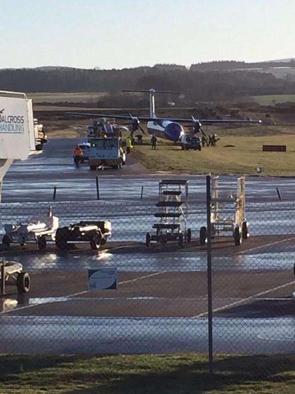 Plane off runway at Inverness Airport