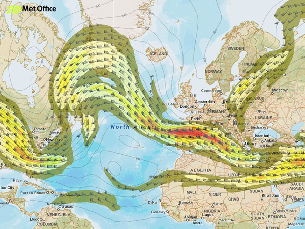 Moving cold weather front across Europe and North America