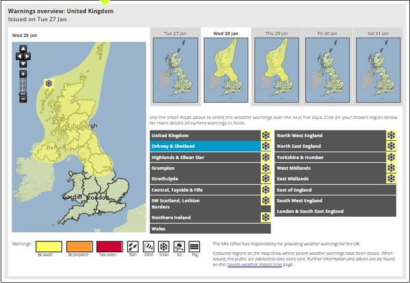 Weather warning for snow across Scotland