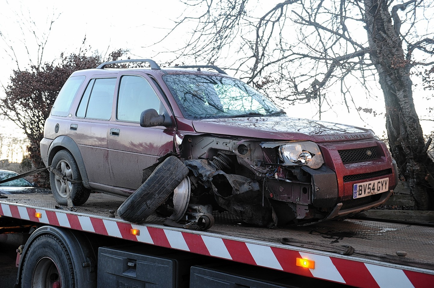 One of the cars involved in the crash on the B979