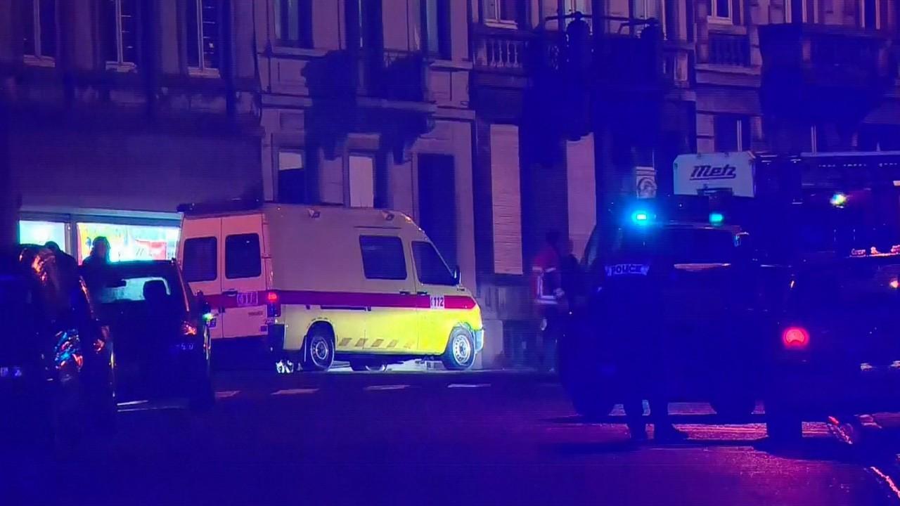 The scene of the raid in Belgium this evening