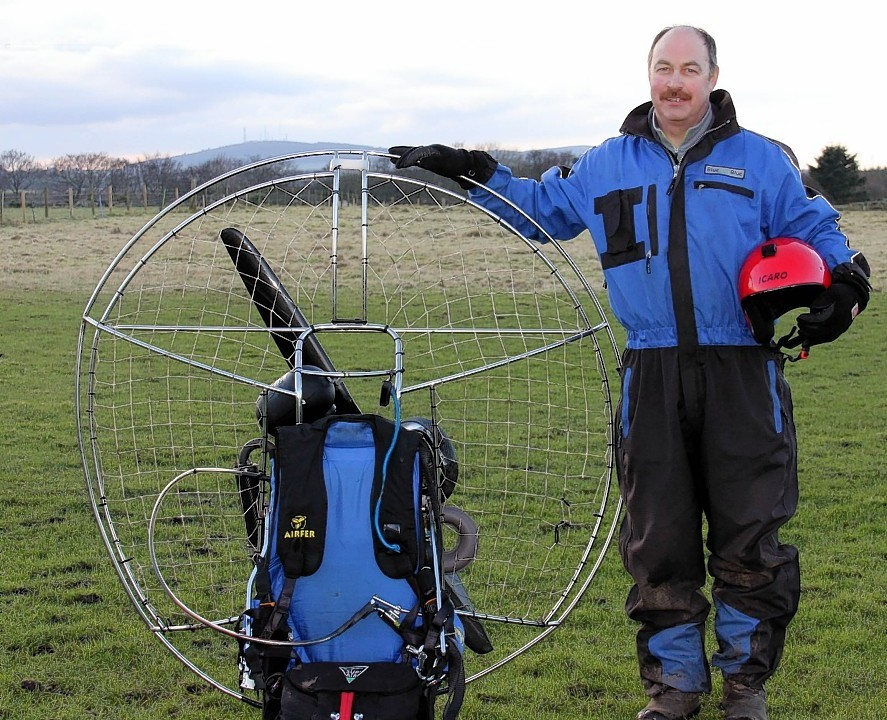 Fraserburgh 'birdman' Gordon Robertson with his paramotor