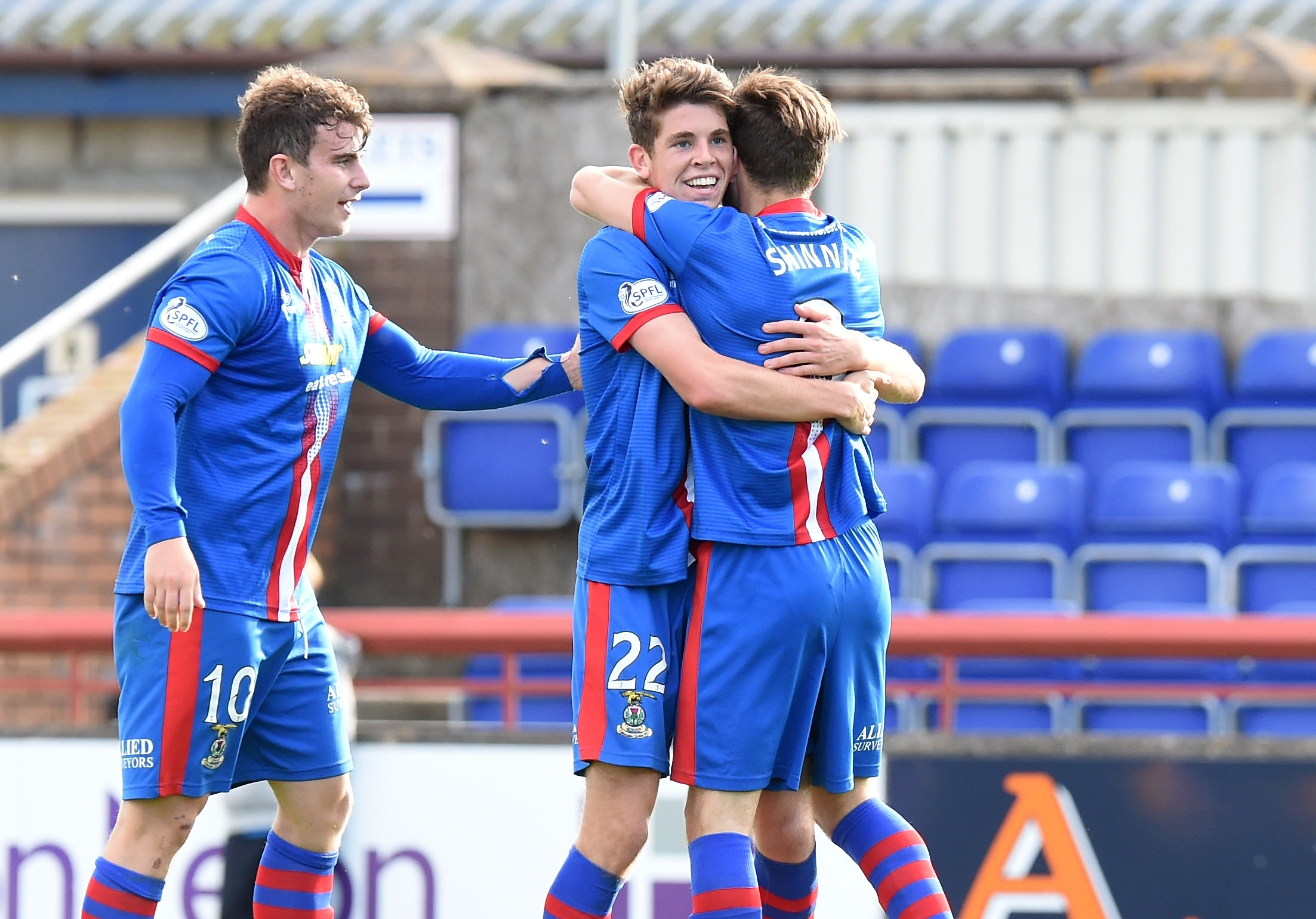 Caley Thistle celebrate Ryan Christie's goal when the teams met in September
