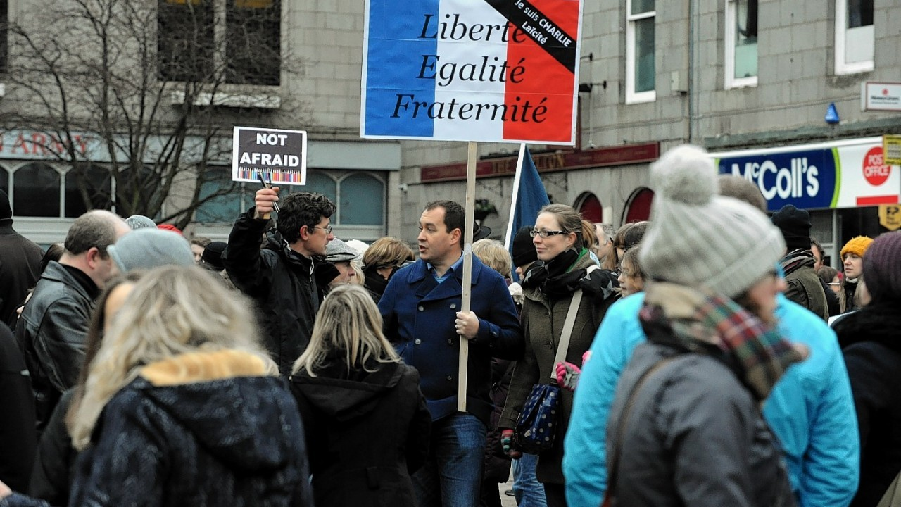 The Aberdeen rally in support of Paris