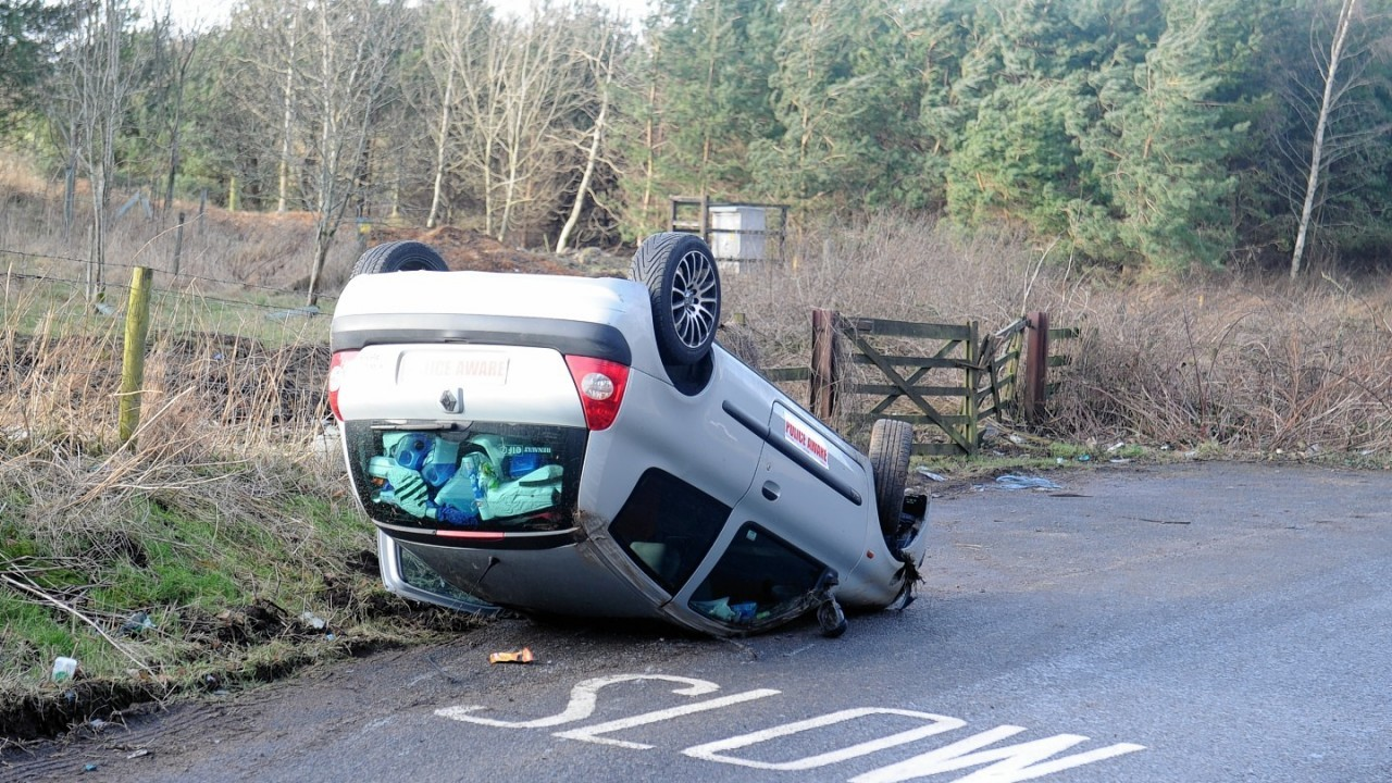 Fortunately the driver escaped after the crash near Craibstone Golf Club