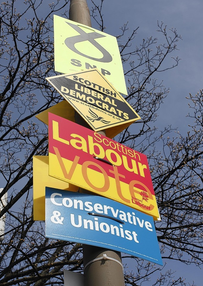 Election posters on lampost