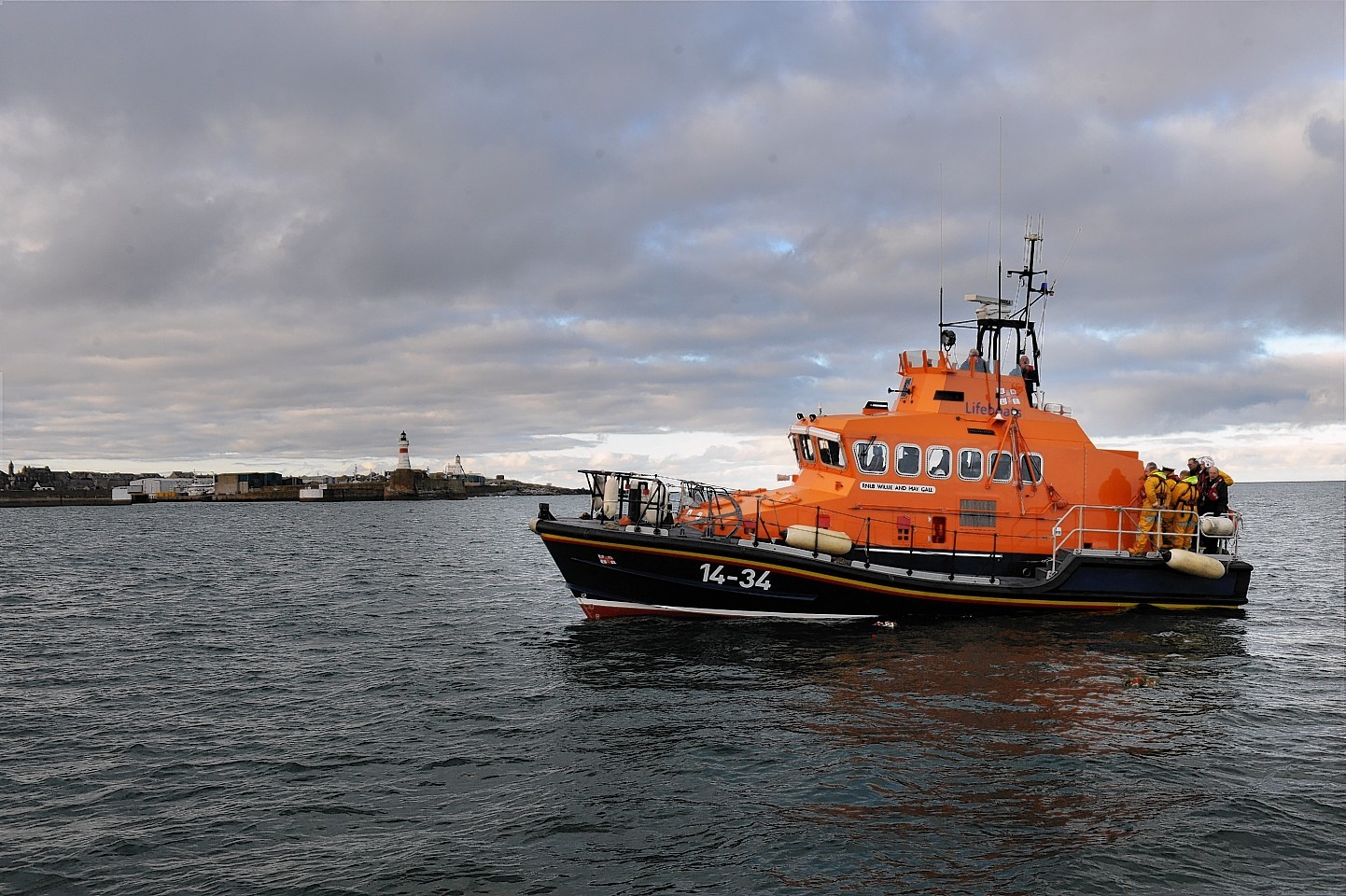 Fraserburgh lifeboat in action.