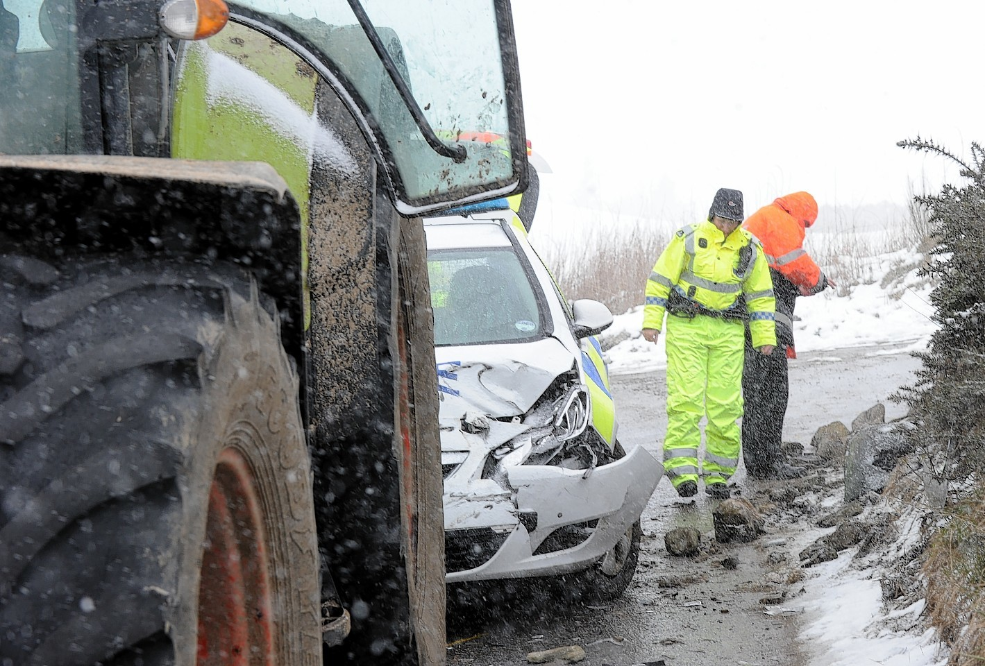 Scene of the crash involving the police car in Aberdeenshire