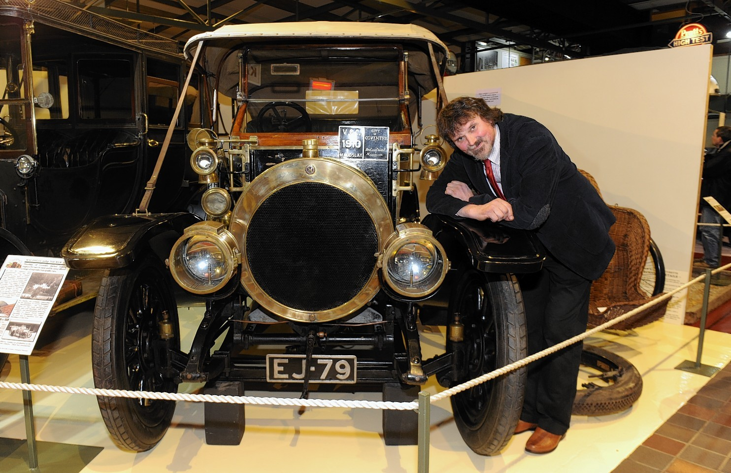 Mike Ward, curator of the Grampian Transport Museum, with a 1910 Maudslay which arrived on loan last year