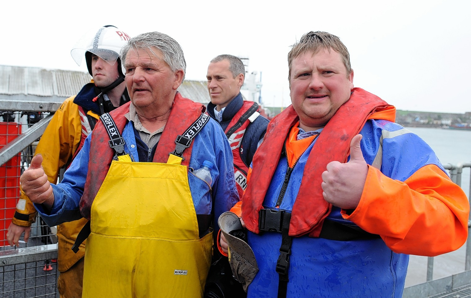 Gourdon fishermen Jim Reid and David Irvine in Montrose after their 48 hour ordeal at sea