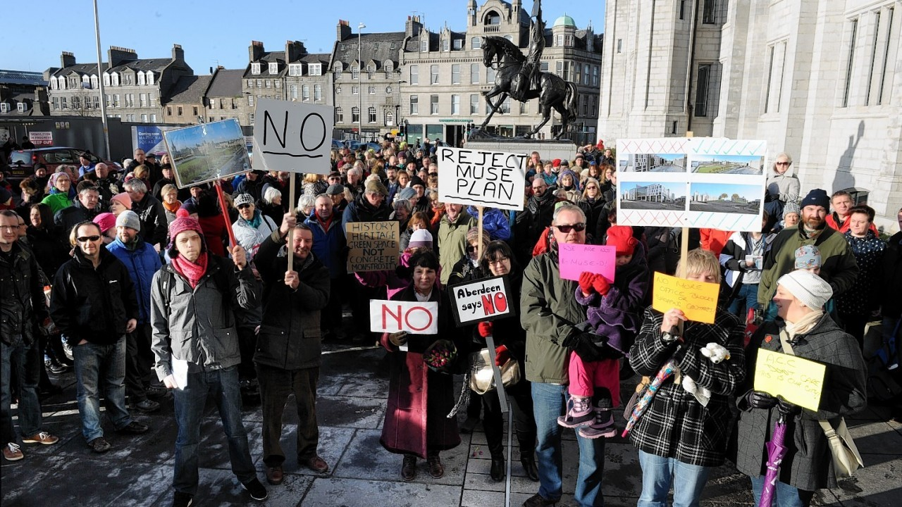 A number of protests have taken place against the controversial Marischal Square plans
