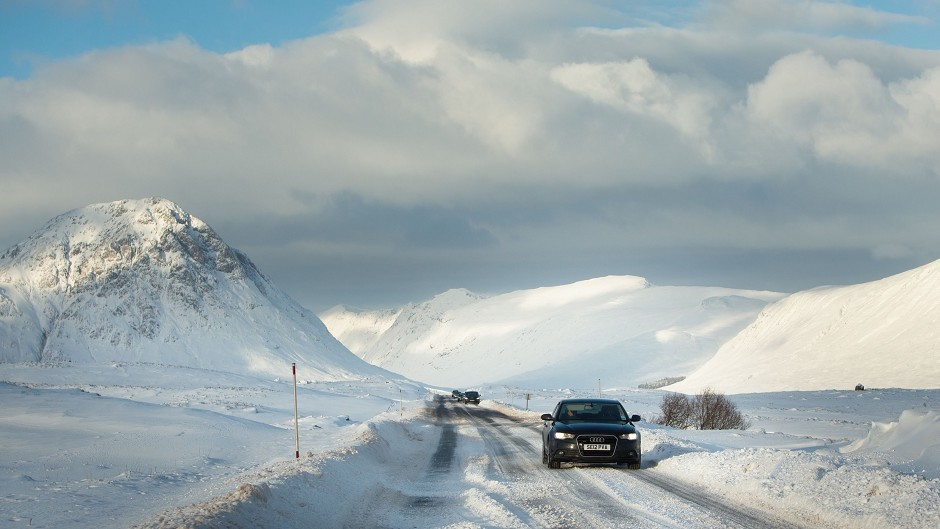 An amber 'be prepared' weather warning is in place for snow and strong winds