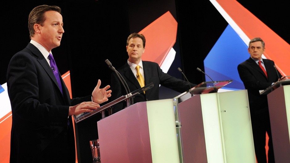 Party leader during a live leaders' election debate in 2010.