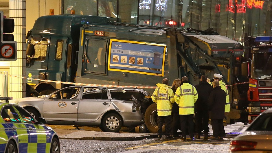 The scene in Glasgow's George Square after an out-of-control bin lorry careered through the streets