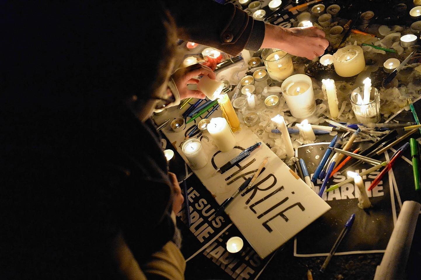 Tributes at Place de la Republique in Paris