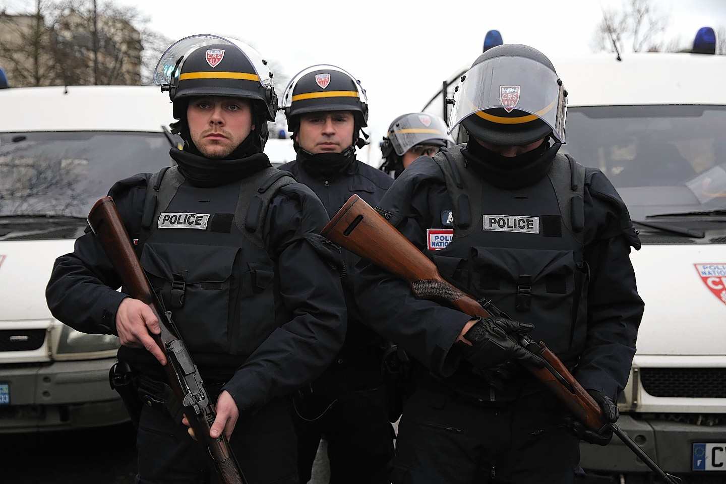 Armed police officers in Paris this afternoon