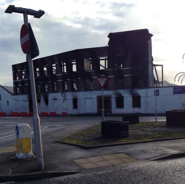 Firefighters are still on the scene of yesterday's blaze in Peterhead