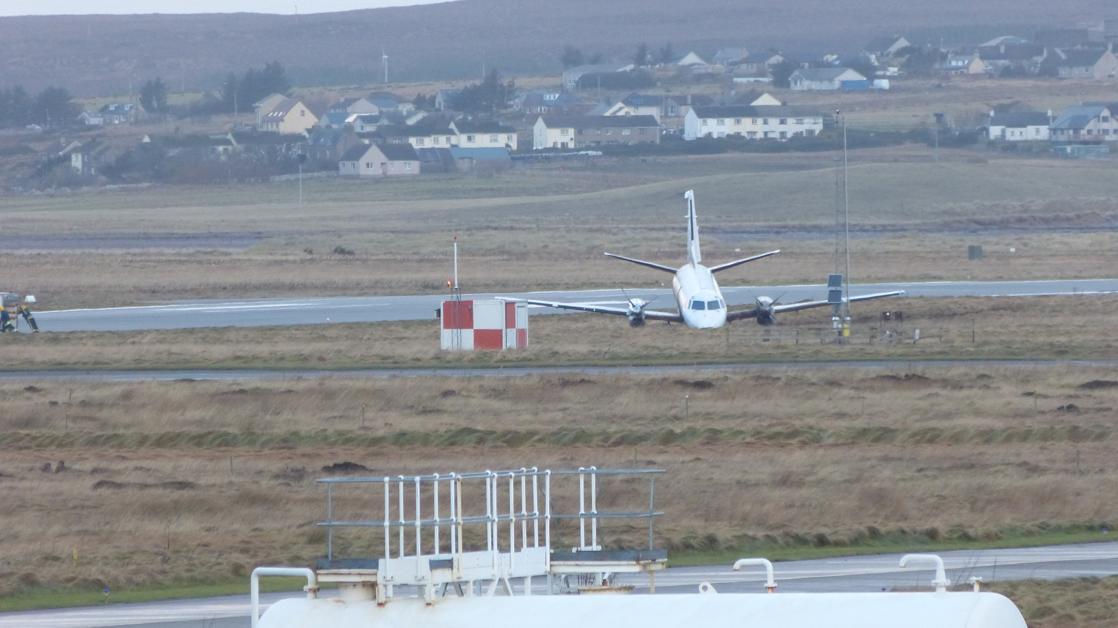 The plane which veered off the runway at Stornoway Airport