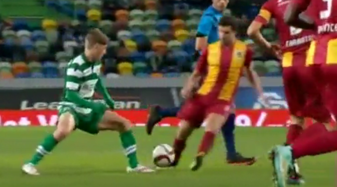 Ryan Gauld nutmegs his opponent before setting up Sporting's third goal