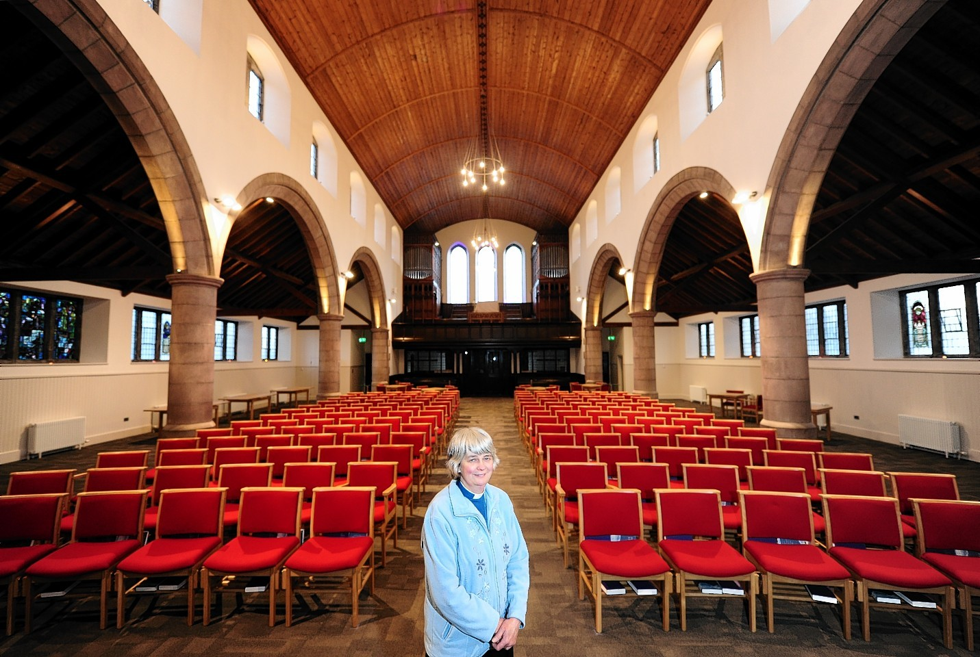 Midstocket Church minister Sarah Nicol with all her new chairs
